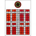 Golden Dawn Enochian Fire Tablet with Latin Lettering