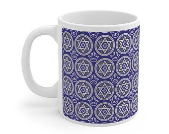 Mystic Blue Hexagrams Mug